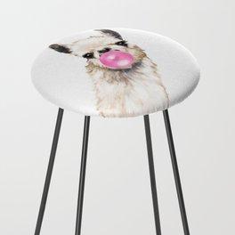 Bubble Gum Sneaky Llama Counter Stool