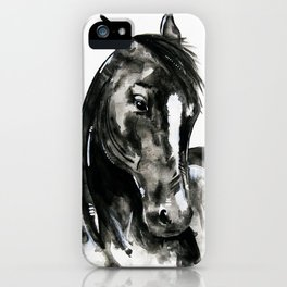 Play of Light - Black and white horse painting iPhone Case