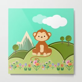 Monkey , nursery decor Metal Print