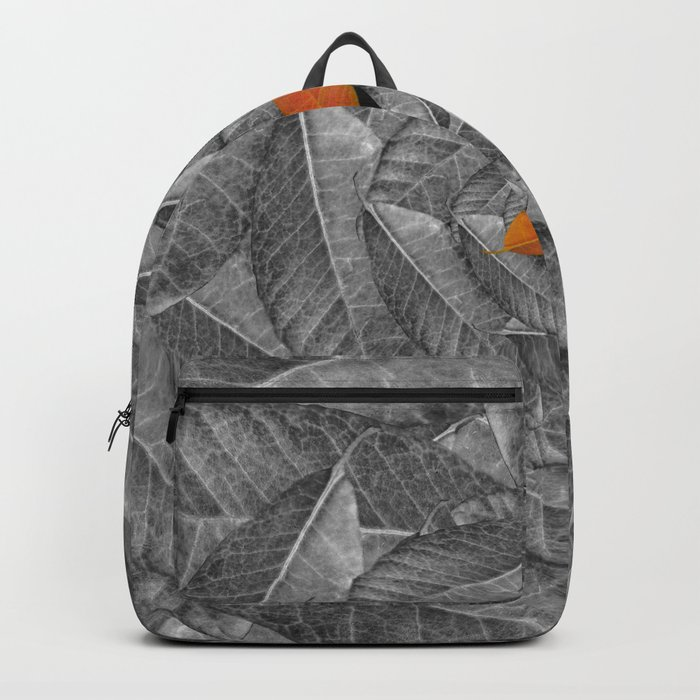 Orange Leaf On Grey And Silver Leaves - Beautiful Background - Autumn mood - #Society6 #buyart Backpack