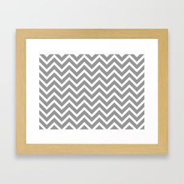 grey, white zig zag pattern design Framed Art Print