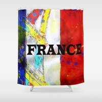 france Shower Curtains featuring FRANCE by Brian Raggatt