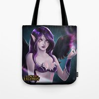 league of legends Tote Bags featuring league of legends morgana by Mayadevia