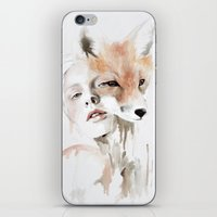 fox iPhone & iPod Skins featuring fox by Jen Mann