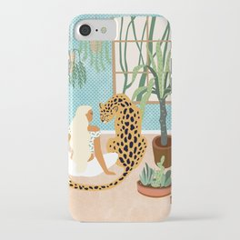 Urban Jungle Illustration, Tiger Home Decor, Woman & Modern Bohemian Wildlife Painting iPhone Case