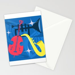 Jazz Composition With Bass, Saxophone And Trumpet Stationery Cards