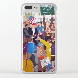 The colourful Assassination of Donald Trump in New York City Clear iPhone Case