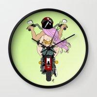 harley Wall Clocks featuring Harley by Natalie Easton