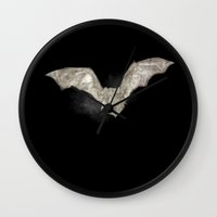 bat Wall Clocks featuring Bat by Arts and Herbs