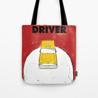 taxi driver Tote Bags featuring Taxi Driver by Matthew Bartlett