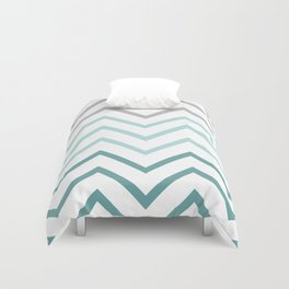 THIN TEAL CHEVRON FADE  Duvet Cover