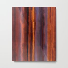 Wildfire Watercolor Stripe Metal Print