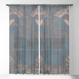 Rose gold and cobalt blue antique world map with sail ships Sheer Curtain