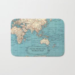 Pacific Projection World Map Bath Mat