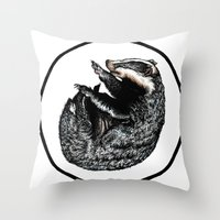 badger Throw Pillows featuring Badger by Natalie Toms Illustration