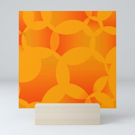 Abstract soap of orange molecules and bubbles on a fruity background. Mini Art Print