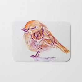 Little Purple Brown Sparrow watercolor by CheyAnne Sexton Bath Mat