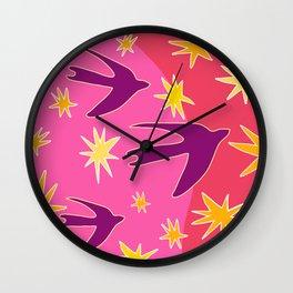 Night Birds Soar Wall Clock