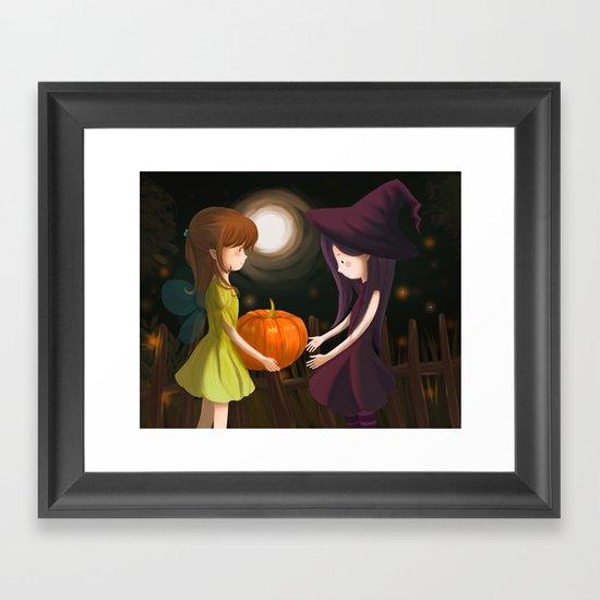 Pumpkin Girls Framed Art Print