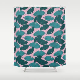 Palm leave boho summer pop ibiza party teal pink Shower Curtain