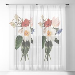 Spring Flowers Bouquet Sheer Curtain