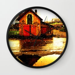 little house and snow Wall Clock