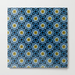 V6 Blue Traditional Moroccan Natural Leather - A4 Metal Print