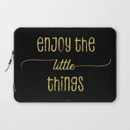 TEXT ART GOLD Enjoy the little things Laptop Sleeve