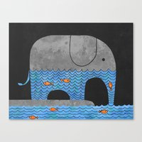 retro Canvas Prints featuring Thirsty Elephant  by Terry Fan