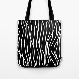 White lines on black background Tote Bag