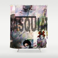 basquiat Shower Curtains featuring Basquiat by Andrew Spangler