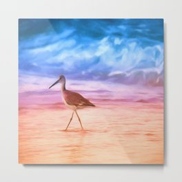 Sunrise Walking Bird Metal Print