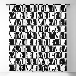Large Black and White Check Retro 80s Disco Blackout Curtain