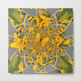 GOLDEN BUTTERFLIES & GREEN FROGS GREY MAMDALA Metal Print