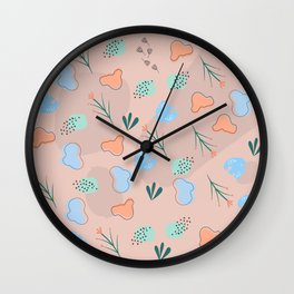 Floral pattern and shapes Wall Clock