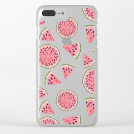 Modern pink green watercolor hand painted watermelon pattern Clear iPhone Case