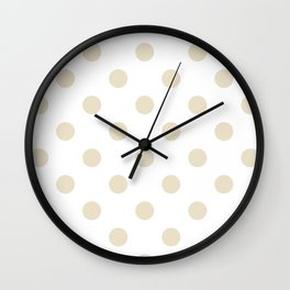 Polka Dots - Pearl Brown on White Wall Clock
