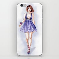 fashion illustration iPhone & iPod Skins featuring Fashion illustration by Tania Santos