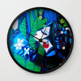 Oriental Lady Black and Blue Wall Clock
