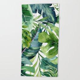 Tropical Jungle Leaves Beach Towel