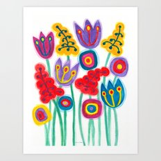 raw flower garden with tulips Art Print