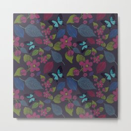 seamless  pattern with flowers and butterfly. Metal Print