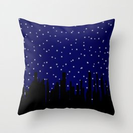 Stary Night Cityscape Throw Pillow