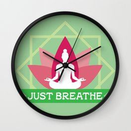 New Age Zen Yoga Lover Just Breathe Stretching Lotus Minty Wall Clock