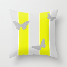 Mustard and Grey Stripes Throw Pillow