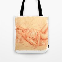erotic Tote Bags featuring Nude - erotic lying woman by Marita Zacharias