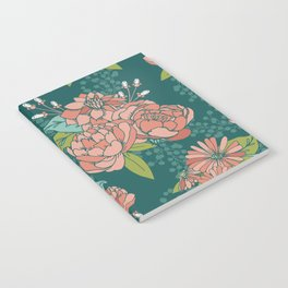 Moody Florals in Teal Notebook