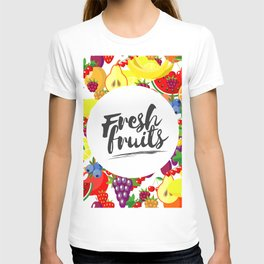 Fresh fruits. Background with juicy ripe fruit and berries , round composition, lettering. T-shirt