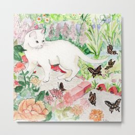 White Cat in a Garden Metal Print