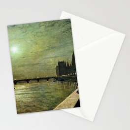 Reflections on the Thames River, London by John Atkinson Grimshaw Stationery Cards